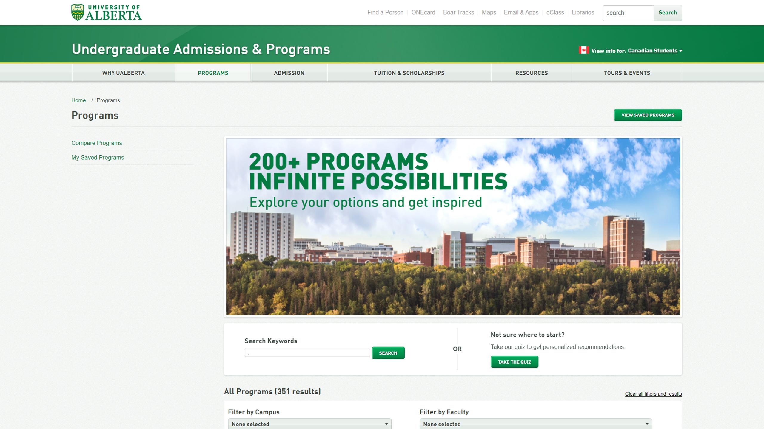 UAlberta – Undergraduate Admissions & Programs Homepage